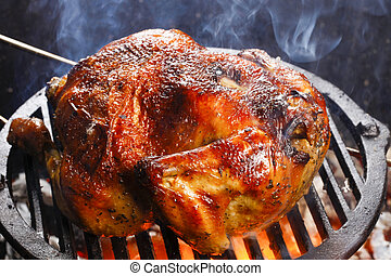 roasted chicken in the wood-fired oven