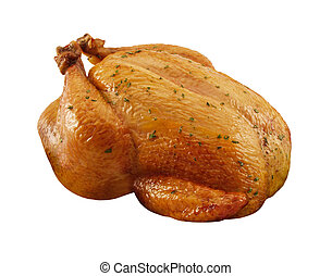 Roasted Chicken isolated on a white background with a ...