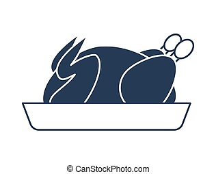 Roasted chicken on plate vector icon