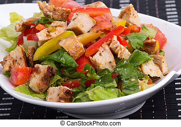 roasted chicken summer salad with v