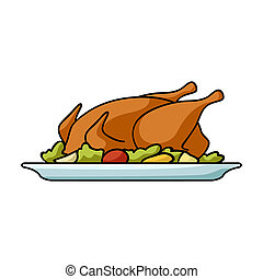 Roasted chicken with garnish icon in cartoon style isolated on white background. Restaurant symbol stock bitmap, rastr illustration.