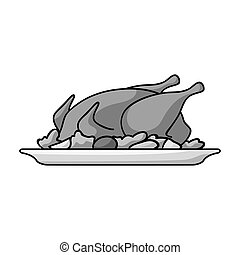 Roasted chicken with garnish icon in monochrome style isolated on white background. Restaurant symbol stock vector illustration.