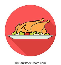 Roasted chicken with garnish icon in flat style isolated on white background. Restaurant symbol stock vector illustration.
