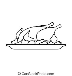 Roasted chicken with garnish icon in outline style isolated on white background. Restaurant symbol stock vector illustration.