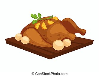 Roasted chicken with potato and orange slices on wooden tray