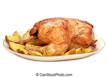 Roasted chicken with potato on a plate isolated