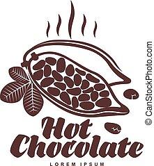 roasted cocoa beans logo template