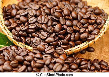 Roasted coffee beans. (Arabica coffee)