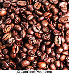 Roasted coffee beans, can be used as a background. Closeup, ...