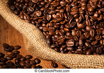 roasted coffee beans in a bag