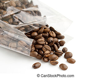 roasted coffee beans in a transparent bag
