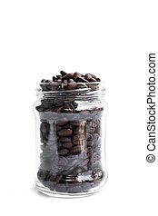 roasted coffee beans in glass jar