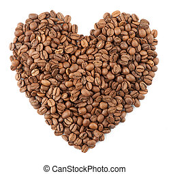 Roasted coffee beans in the shape of the heart