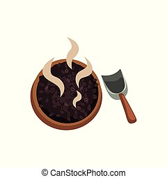 Roasted coffee beans in wooden bowl vector Illustration on a white background