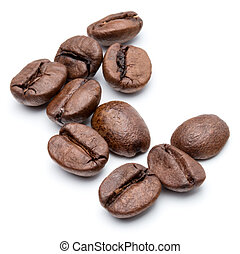 roasted coffee beans isolated in white background cutout -...