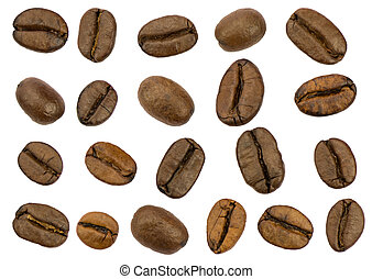 Roasted coffee beans isolated on white background. Separate...