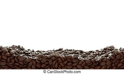 Roasted Coffee beans mix. slowmo