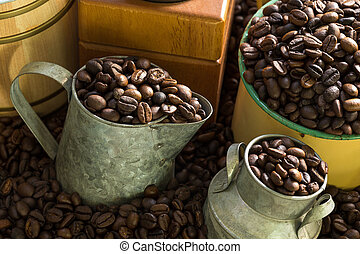 Roasted coffee beans on a wood floor for decoration.
