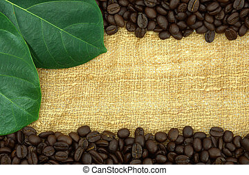 Roasted coffee beans on canvas