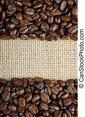 roasted coffee beans on sackcloth