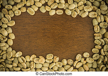roasted coffee beans on the wooden table, can be used as a background
