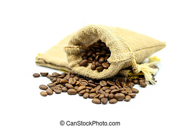Roasted coffee beans on white background.