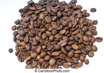 Roasted coffee beans pile isolated on white background.
