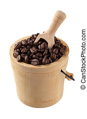 Roasted coffee in wooden bucket isolated on white background
