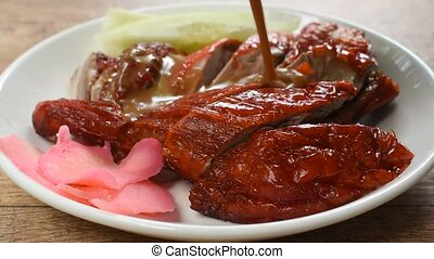 roasted duck meat and pickled ginger dressing sweet sauce on...