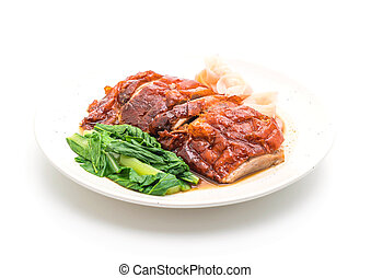 roasted duck on white background