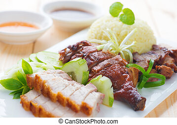 Roasted duck, roasted pork crispy siu yuk and Charsiu