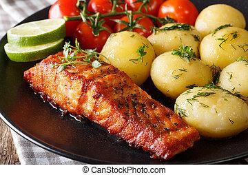 roasted fillet salmon and boiled new potatoes, fresh tomatoes macro. horizontal