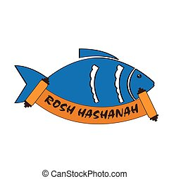 Roasted fish with text. Rosh hashanah