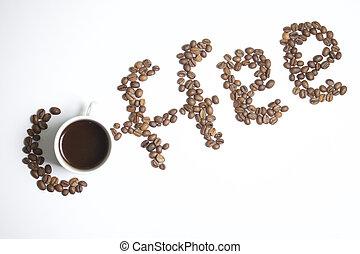 Roasted grains of black coffee.