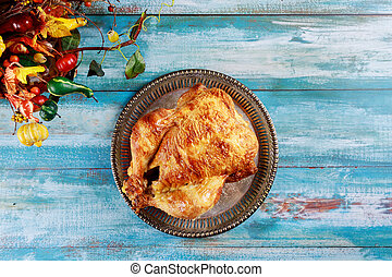 Roasted homemade whole chicken with Thanksgiving Day
