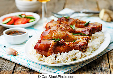 roasted honey soy garlic ginger chicken. the toning....