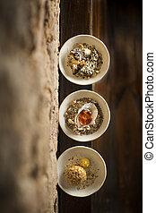 Roasted jerusalem artichoke warm oyster choziro egg in three bowls