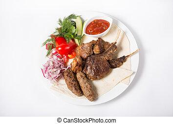 Roasted kebab meat