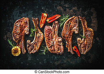 Roasted lamb meat with vegetables