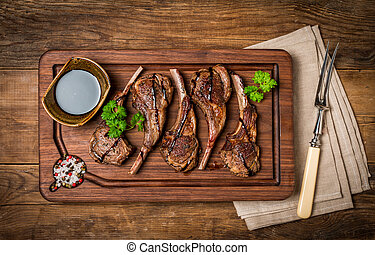 Roasted lamb ribs with sause