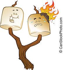 Roasted Marshmallow Cartoons - Marshmallows on a stick...