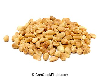 A pile of roasted peanuts isolated on a white background
