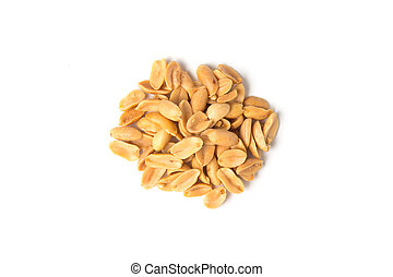 Roasted peanuts isolated on white background