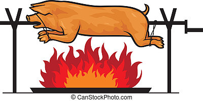 roasted pig on a spit, grilled pig on the fire