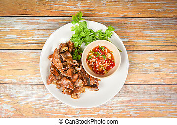 Roasted pork Chitterlings with chilli sauce spicy - entrails...