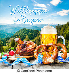 Welcome in Bavaria - Roasted pork knuckle with pretzels and...