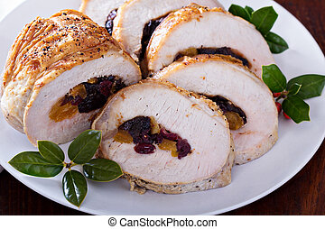Roasted pork loin stuffed with dried fruits for Christmas ...