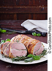Roasted pork tenderloin with herbs