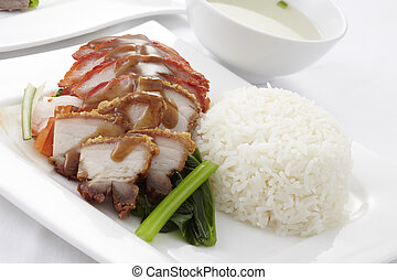 Roasted pork with rice and soup