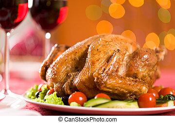 Roasted poultry - Image of roasted turkey on Christmas...